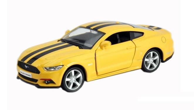Купить Машина металлическая инерционная RMZ City - Ford 2015 Mustang with Strip, цвет желтый, 1:32