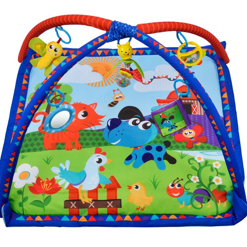 Коврик развивающий Домашние животные, 5 развивающих игрушек с книжкой-шуршалкойДетские развивающие коврики для новорожденных<br>Коврик развивающий Домашние животные, 5 развивающих игрушек с книжкой-шуршалкой<br>