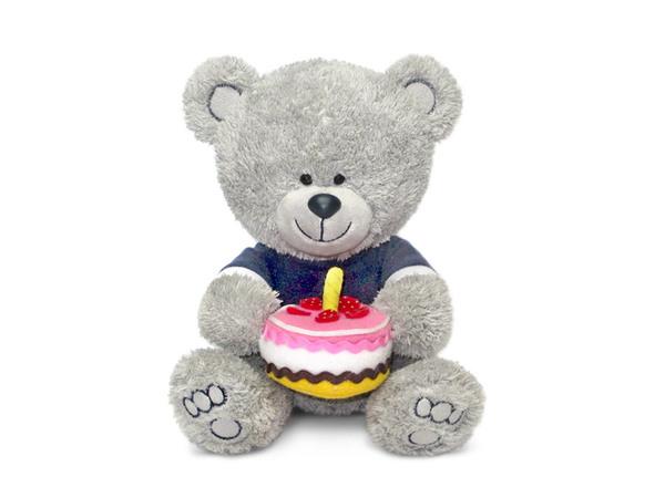 Мягкая игрушка - Медвежонок Ники с тортом, музыкальный, 21,5 смМедведи<br>Мягкая игрушка - Медвежонок Ники с тортом, музыкальный, 21,5 см<br>