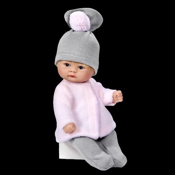 Кукла пупсик в серой шапочке, 20 см.Куклы ASI (Испания)<br>Кукла пупсик в серой шапочке, 20 см.<br>