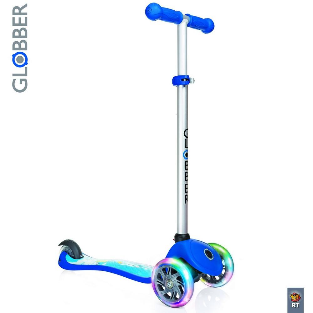 Купить Самокат Y-SCOO Globber Primo Fantasy с 3 светящимися колесами Rocket Navy Blue