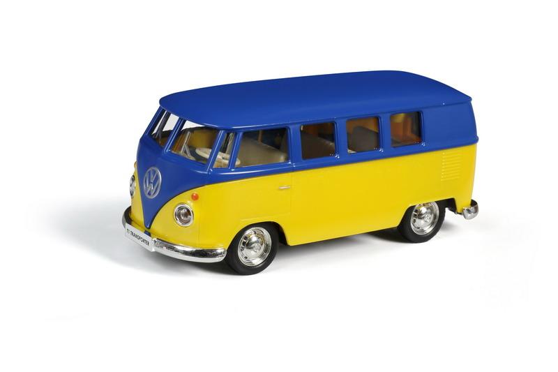 Купить Металлическая инерционная машина - Автобус Volkswagen Type 2 T1 Transporter, 1:32, матовый синий с желтым, RMZ City