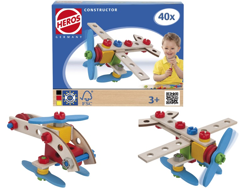 Конструктор - Самолет, 2 варианта сборки, 40 деталейДеревянный конструктор<br>Конструктор - Самолет, 2 варианта сборки, 40 деталей<br>