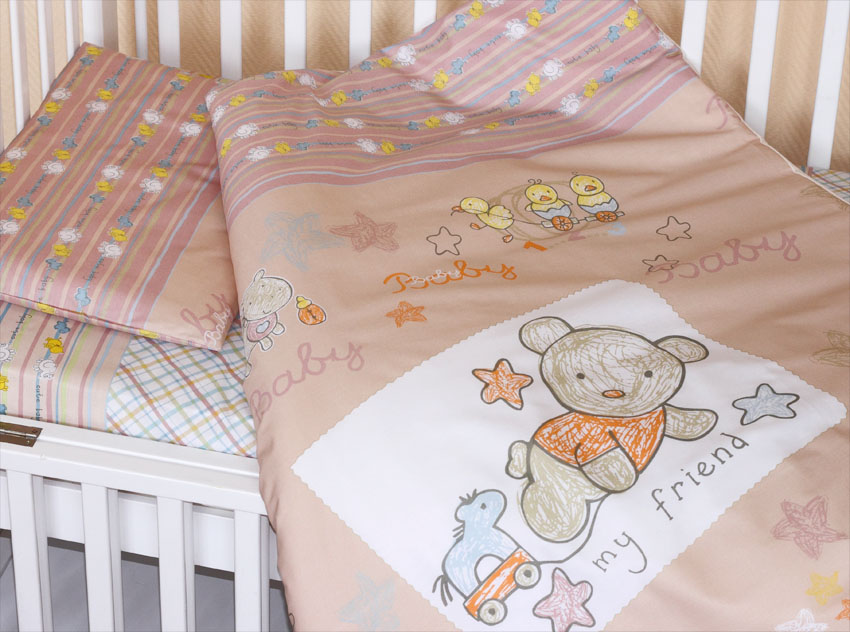 Постельное белье Zoo Bear, 3 предмета, цвет – бежевыйДетское постельное белье<br>Постельное белье Zoo Bear, 3 предмета, цвет – бежевый<br>