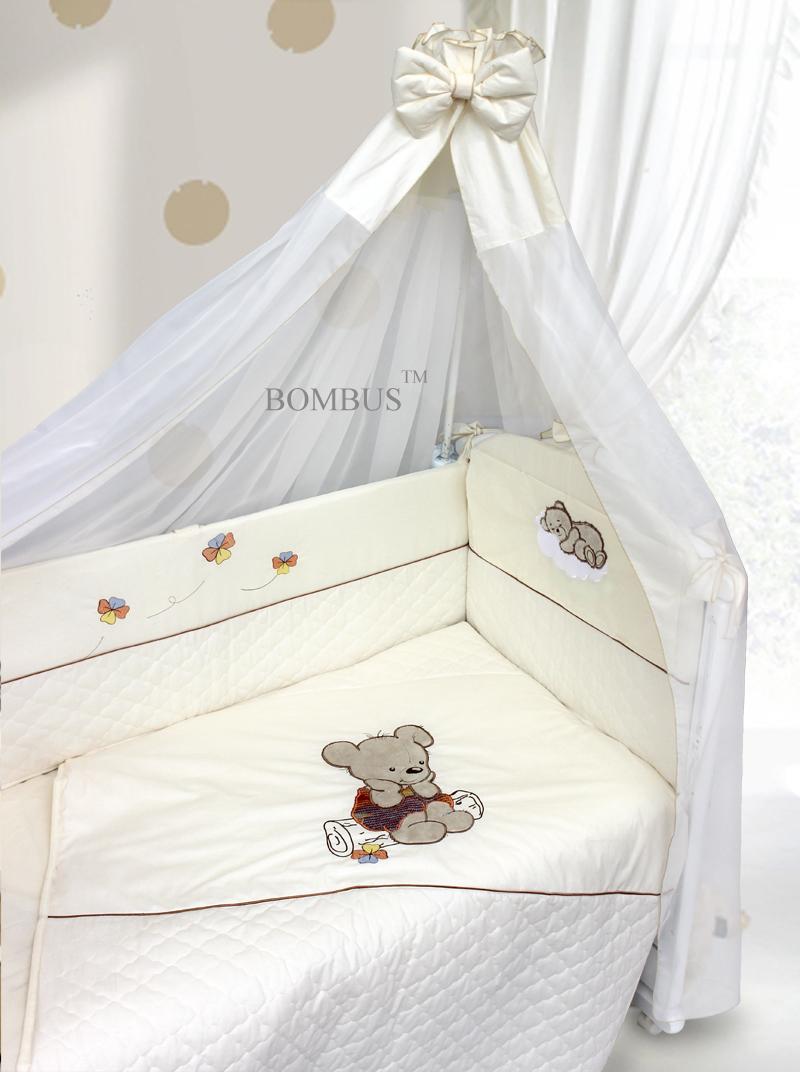 Комплект в кроватку - Мишутка на бревнышке, 6 предметовДетское постельное белье<br>Комплект в кроватку - Мишутка на бревнышке, 6 предметов<br>