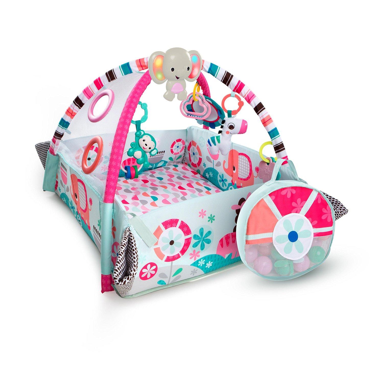 Купить Развивающий коврик Bright Starts 5-в-1 Мечты об Африке, розовый, с мячиками