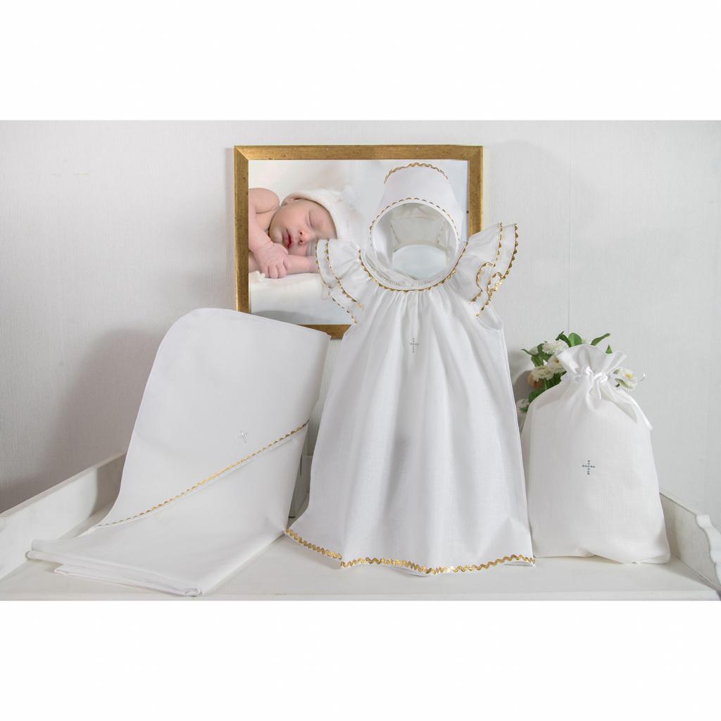 Крестильный набор для девочки – Пелагея, 4 предмета, 9-12 месяцев, белый/золото