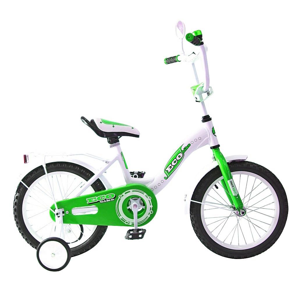 Двухколесный велосипед Aluminium Ecobike, диаметр колес 14 дюймов, зеленыйВелосипеды детские<br>Двухколесный велосипед Aluminium Ecobike, диаметр колес 14 дюймов, зеленый<br>