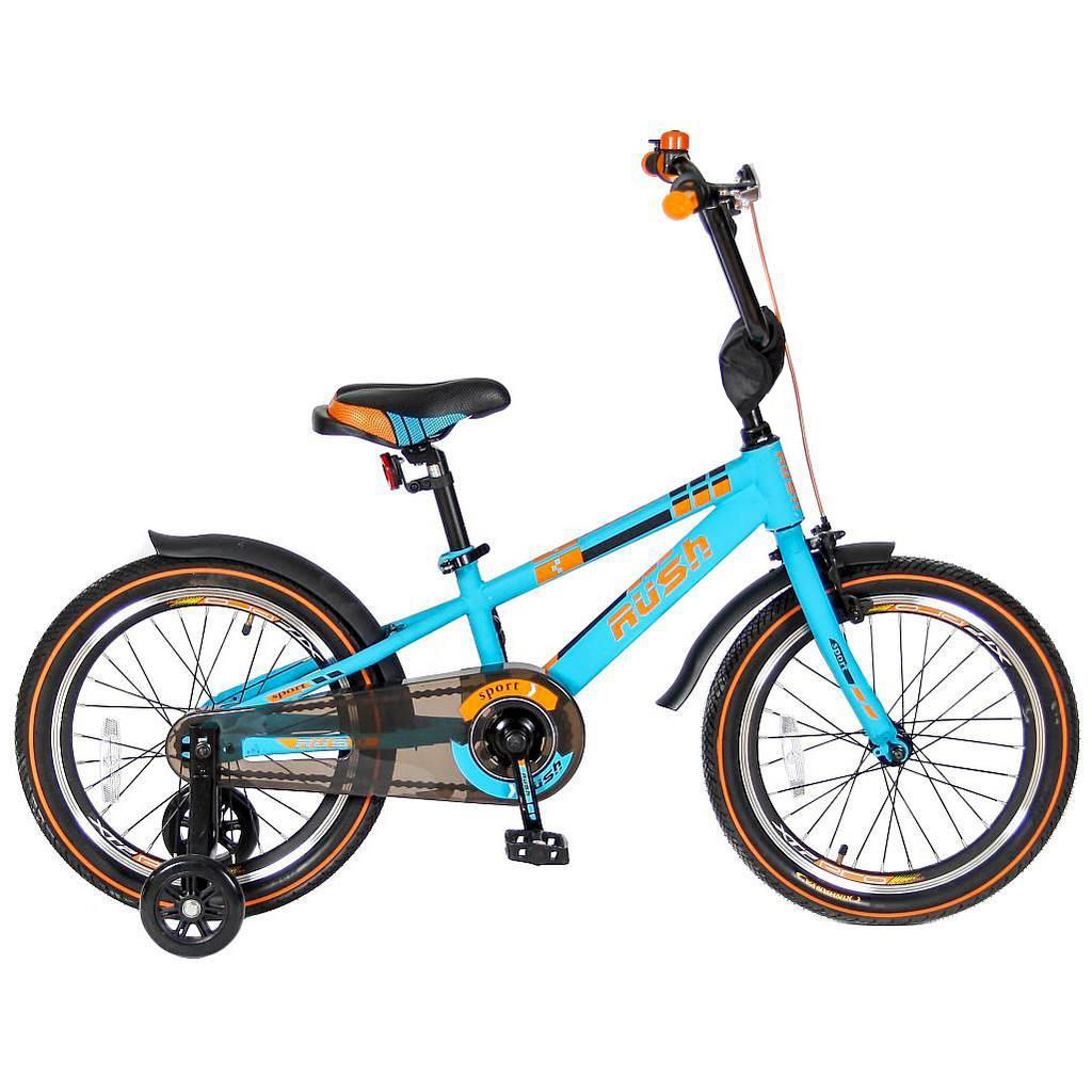 Двухколесный велосипед Rush Sport, диаметр колес 18 дюймов, бирюзовыйВелосипеды детские<br>Двухколесный велосипед Rush Sport, диаметр колес 18 дюймов, бирюзовый<br>