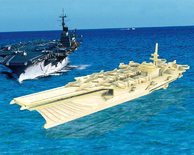 Сборная деревянная модель - Корабль АвианосецПазлы объёмные 3D<br>Сборная деревянная модель - Корабль Авианосец<br>