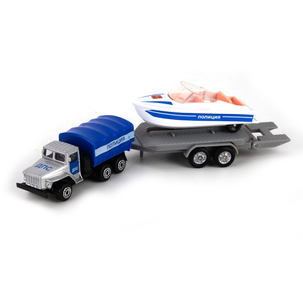 Коллекционный металлический набор - Полиция, Урал с лодкой на прицепеПолицейские машины<br>Коллекционный металлический набор - Полиция, Урал с лодкой на прицепе<br>