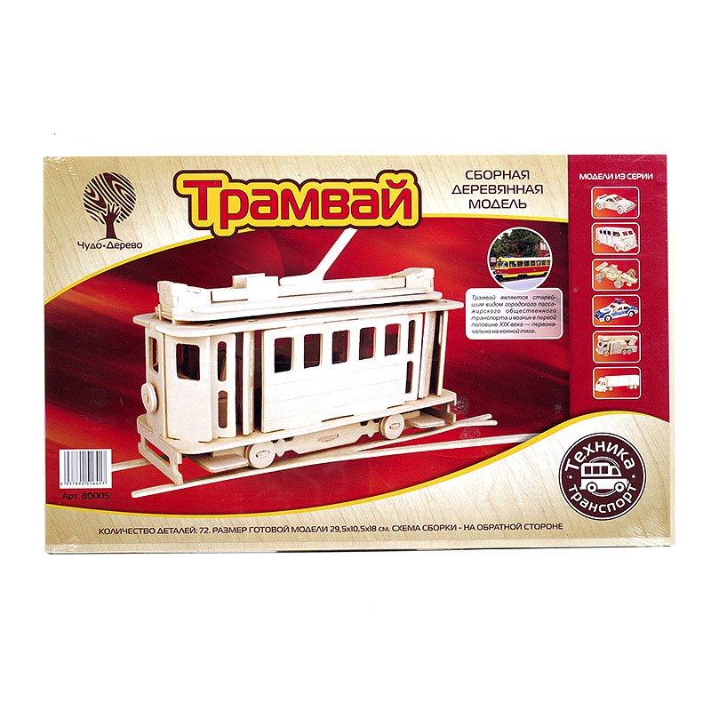 Модель деревянная сборная - Московский трамвайПазлы объёмные 3D<br>Модель деревянная сборная - Московский трамвай<br>
