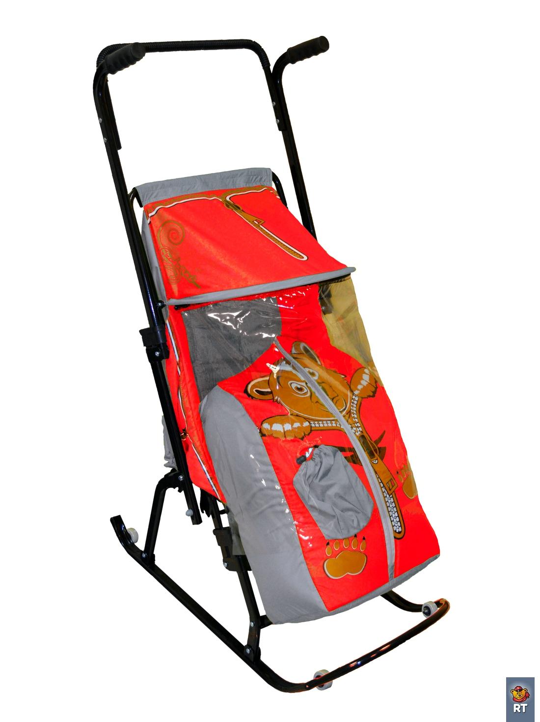 Санки-коляска Снегурочка 4-Р Медвежонок с 4 колесиками, цвет: серый-красныйСанки и сани-коляски<br>Санки-коляска Снегурочка 4-Р Медвежонок с 4 колесиками, цвет: серый-красный<br>