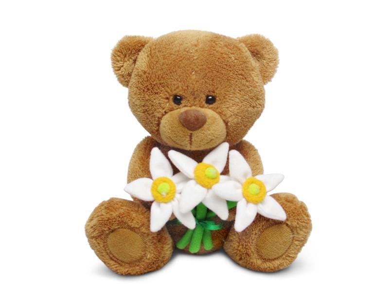 Мягкая игрушка - Медвежонок Сэмми с нарциссами, музыкальный, 18 см.Говорящие игрушки<br>Мягкая игрушка - Медвежонок Сэмми с нарциссами, музыкальный, 18 см.<br>