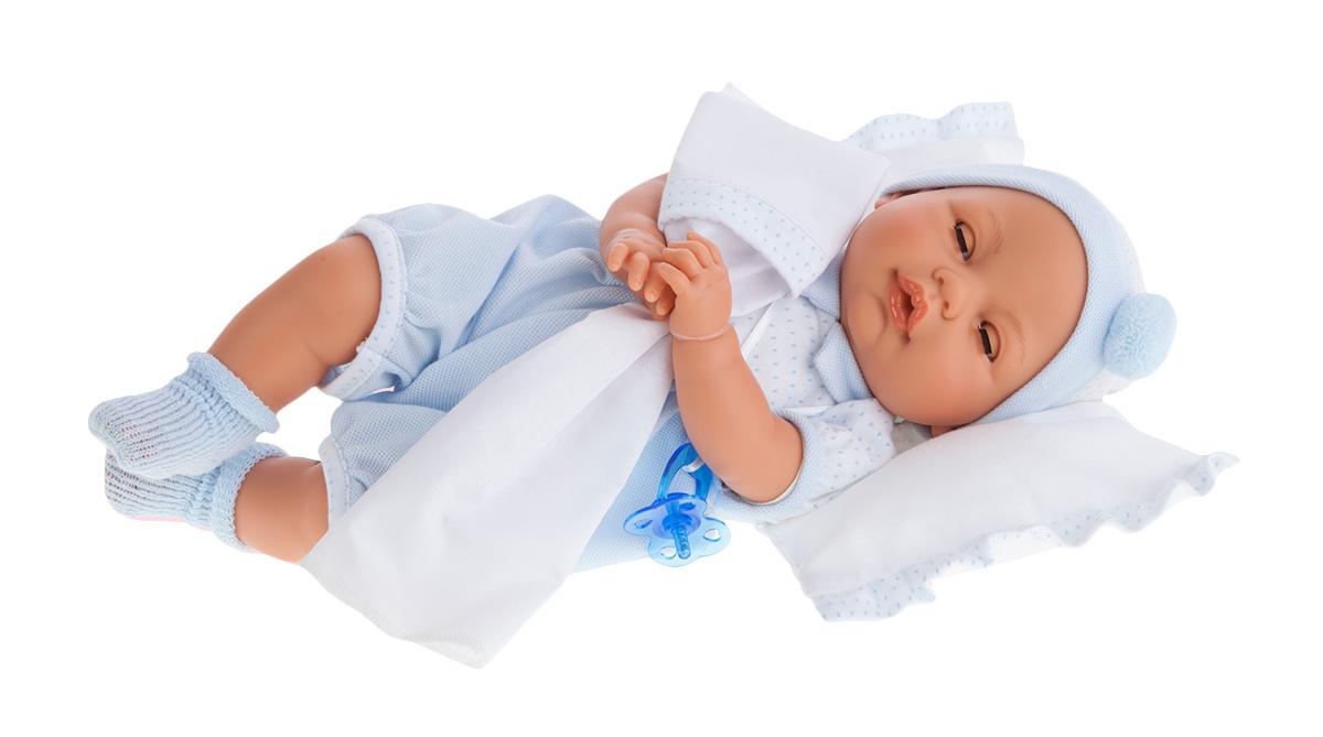 Кукла Габи в голубом, с открывающимися глазами, плачет, 37 смКуклы Антонио Хуан (Antonio Juan Munecas)<br>Кукла Габи в голубом, с открывающимися глазами, плачет, 37 см<br>