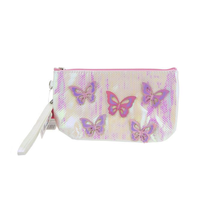 Косметичка с голографическими накладными бабочками жемчужная, 24 х 13 см фото