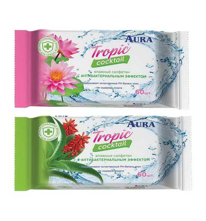 Салфетки влажные антибактериальные - Aura Tropic Cocktail, 60 штук фото