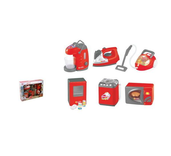 Набор бытовой техники: ти-пот, утюг, пылесос, холодильник, стиральная машинка, микроволновая печьУборка дома, стирка, глажка<br>Набор бытовой техники: ти-пот, утюг, пылесос, холодильник, стиральная машинка, микроволновая печь<br>