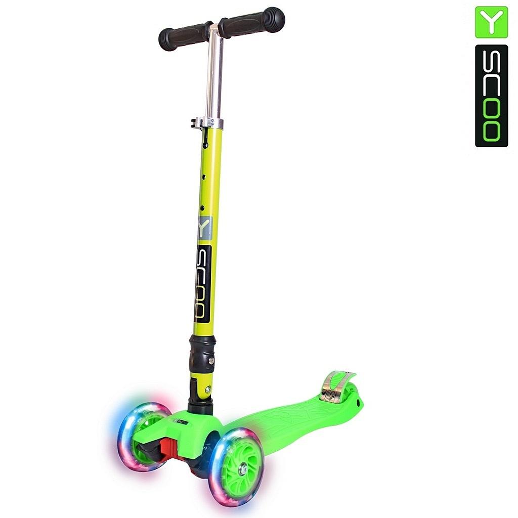 Самокат Y-Scoo 35 Maxi Fix Shine зеленый, со светящимися колесамиТрехколесные самокаты<br>Самокат Y-Scoo 35 Maxi Fix Shine зеленый, со светящимися колесами<br>