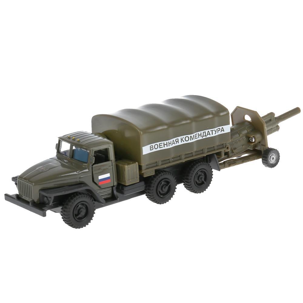 Купить Урал с пушкой, 12 см, открывающиеся двери, инерционный механизм, подвижные детали, Технопарк