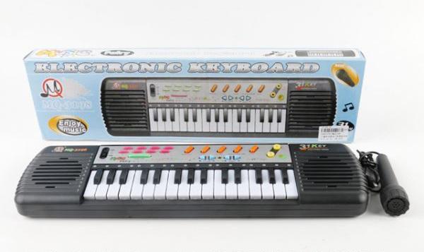Детский электронный синтезатор с микрофономСинтезаторы и пианино<br>Детский электронный синтезатор с микрофоном<br>