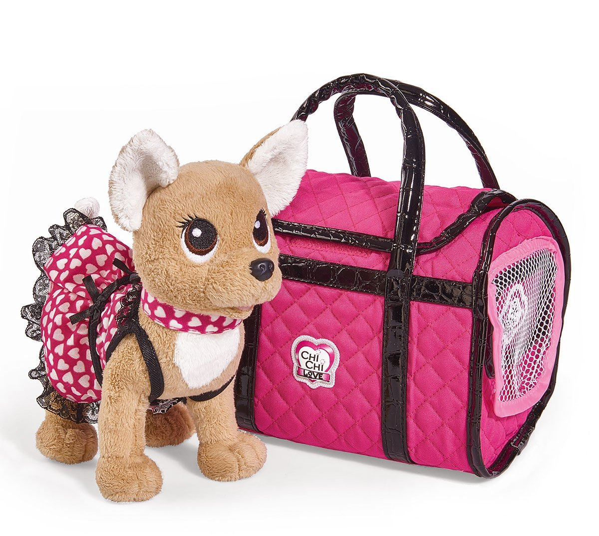 Купить Плюшевая собачка с сумкой из серии Chi-Chi love - Париж 2, 20 см., в платье, светящемся в темноте, Simba