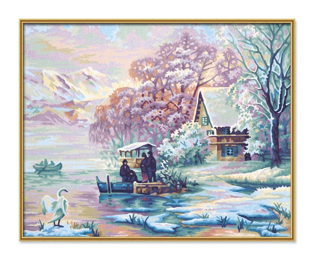 Картина, раскраска по номерам - Горное озеро зимойРаскраски по номерам Schipper<br>Картина, раскраска по номерам - Горное озеро зимой<br>