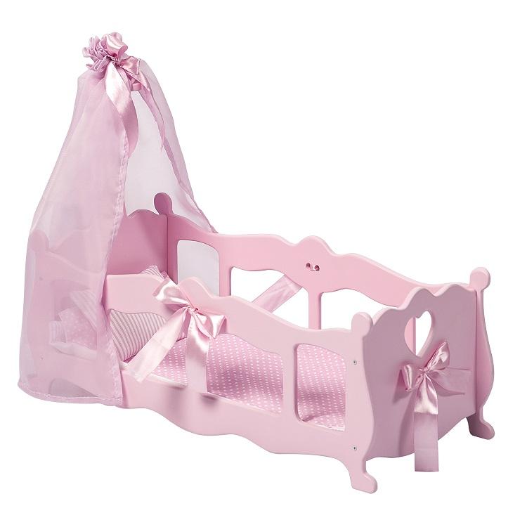 Купить Кроватка - колыбелька для кукол с постельным бельем и балдахином, цвет: розовый, Paremo