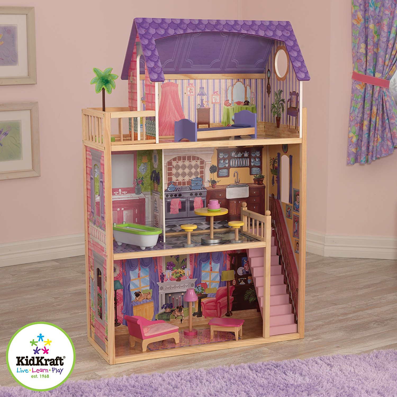 Купить Домик из дерева - Kayla dollhouse – Кайла, для кукол 30 см, с мебелью 10 предметов, KidKraft