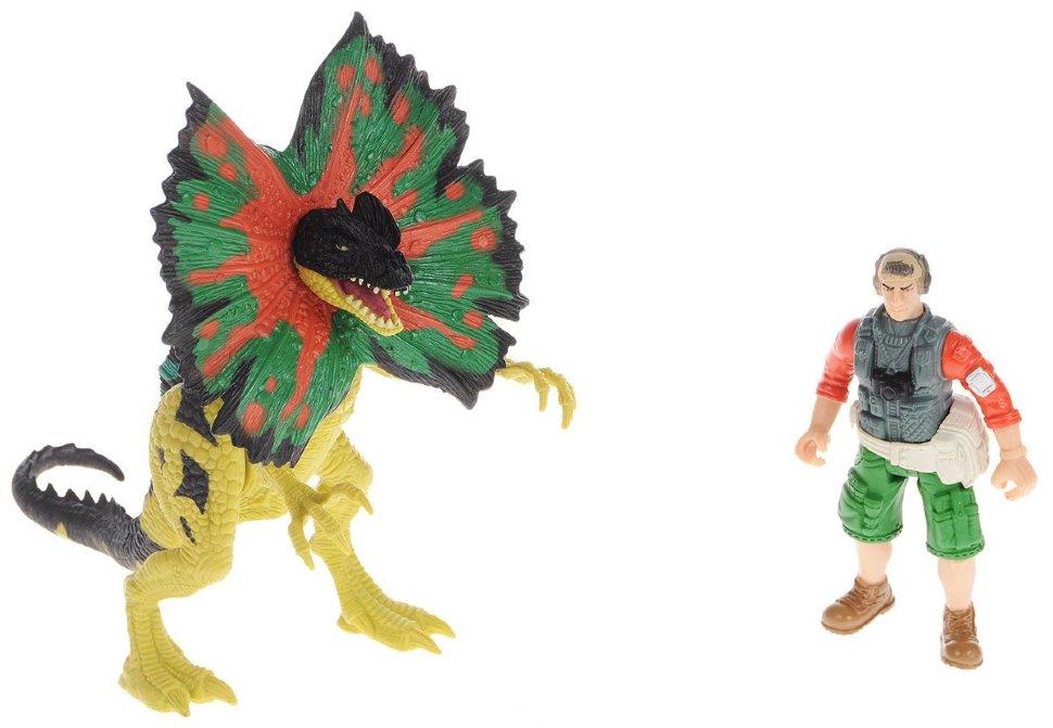 Набор: Дилофозавр и охотник со снаряжением по цене 996