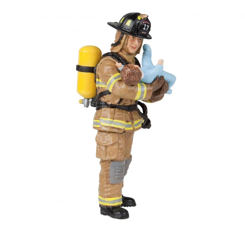 Купить со скидкой Игровая фигурка - Желтый американский пожарный с ребенком