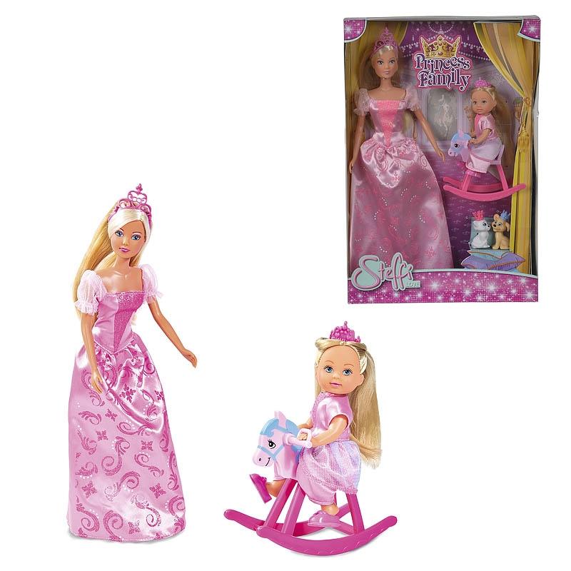 Купить Куклы из набора Принцессы - Штеффи и Еви со зверушками, 29 и 12 см, Simba