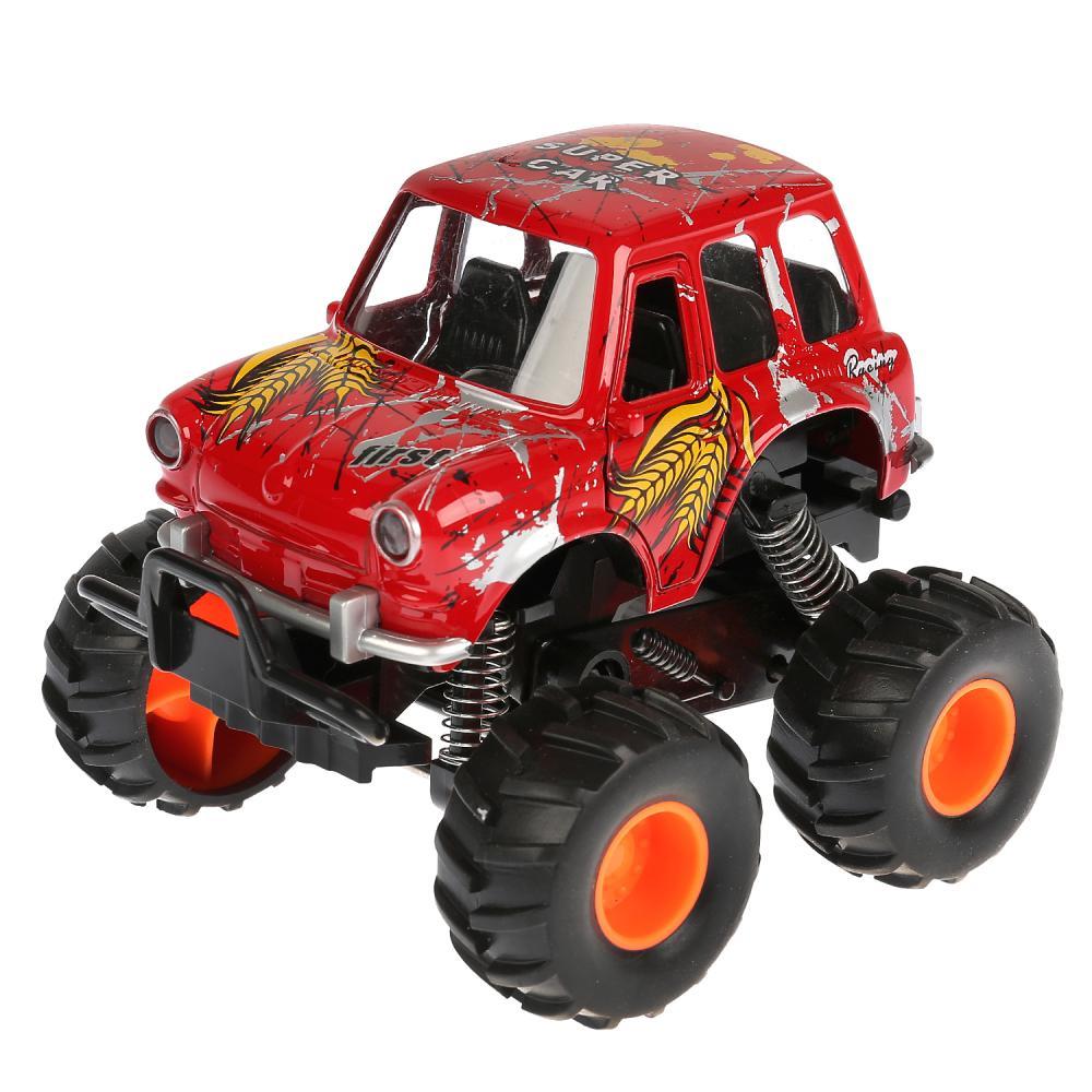 Купить Машина металлическая Монстр Джип, 11, 5 см. красный, открываются двери, рессоры, инерционный, Технопарк