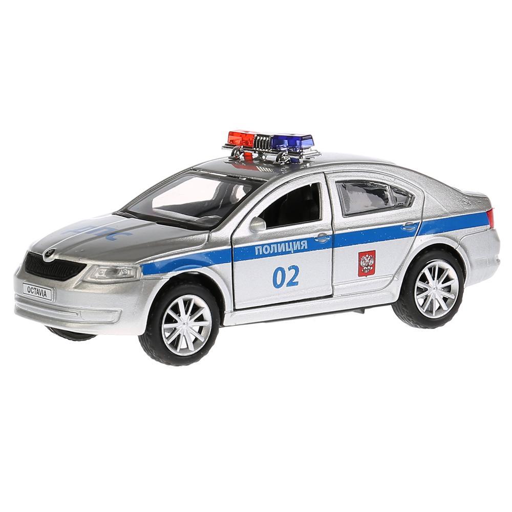 Купить Металлическая инерционная модель – Skoda Octavia Полиция, 12 см, Технопарк