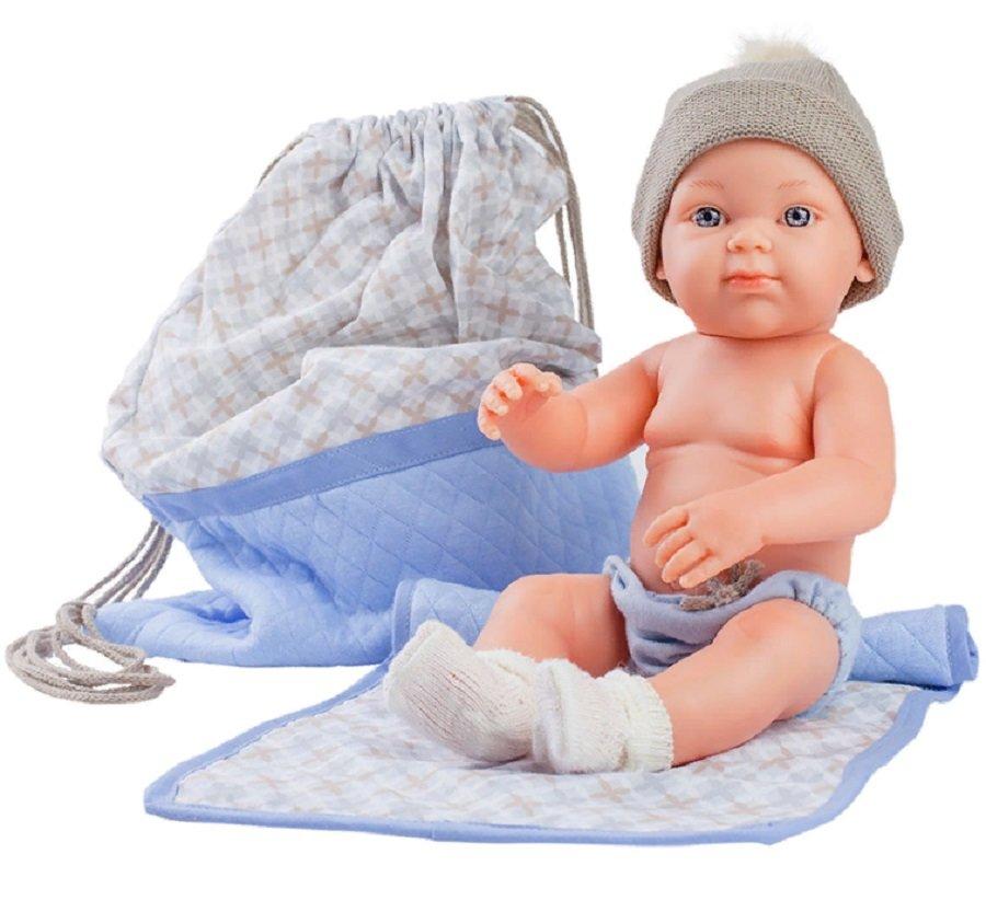 Купить Кукла Бэби с рюкзаком и одеяльцем, 32 см, голубой, Paola Reina