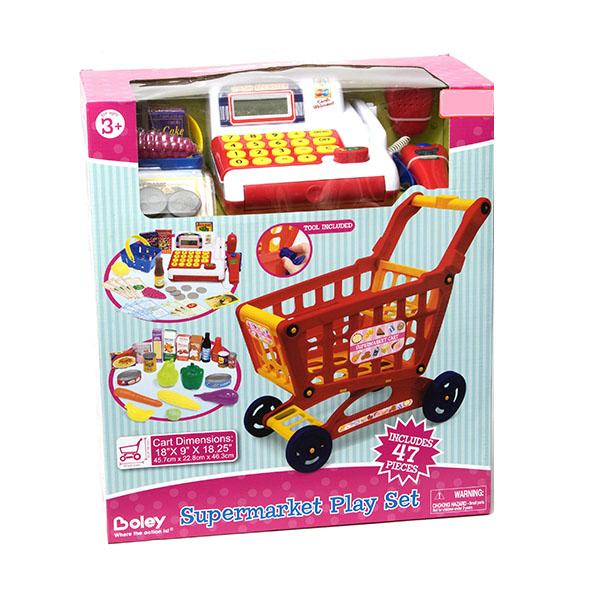Продуктовая тележка с кассой и набором продуктов, 44 предметаДетская игрушка Касса. Магазин. Супермаркет<br>Продуктовая тележка с кассой и набором продуктов, 44 предмета<br>