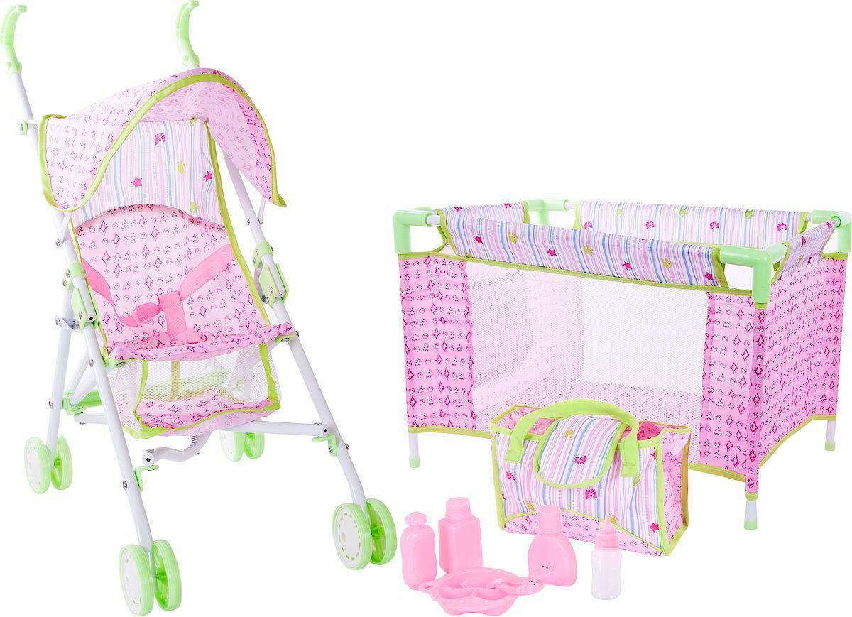 Набор для куклы 3 в 1 - коляска, кроватка, сумка с аксессуарамиКоляски для кукол<br>Набор для куклы 3 в 1 - коляска, кроватка, сумка с аксессуарами<br>