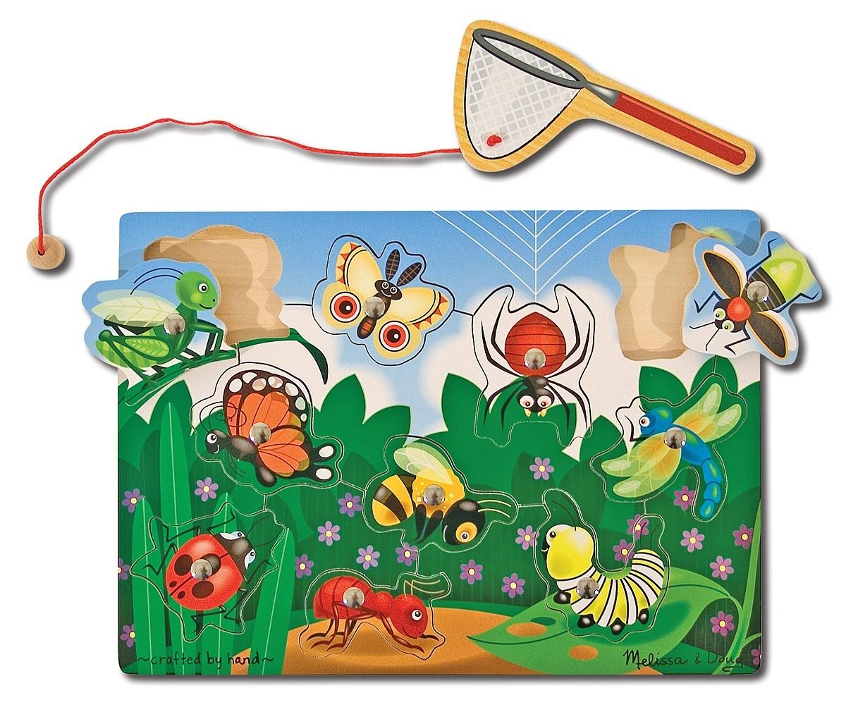 Пазл Ловля насекомых из серии Магнитные игрыПазлы для малышей<br>Пазл Ловля насекомых из серии Магнитные игры<br>