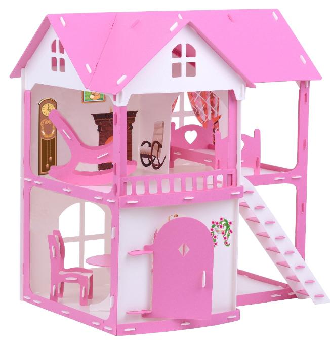 Домик для кукол - Коттедж Светлана, бело-розовый, с мебелью