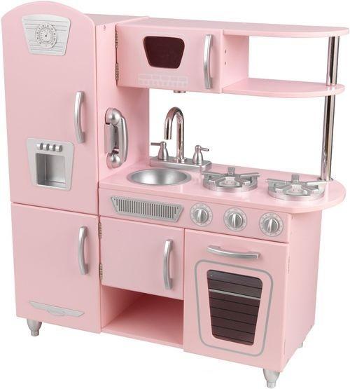 Кухня детская из дерева  Винтаж, цвет розовый - Детские игровые кухни, артикул: 164781