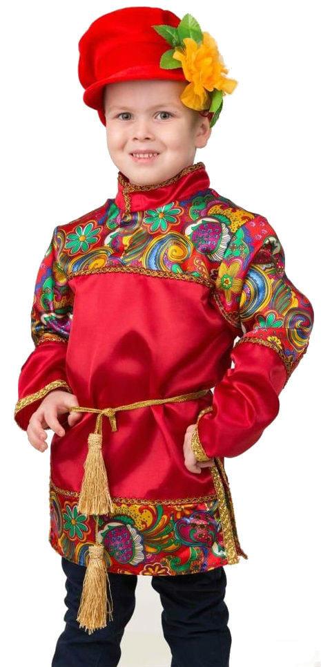 Карнавальный костюм для мальчиков – Емеля, красный, размер 128-64 фото