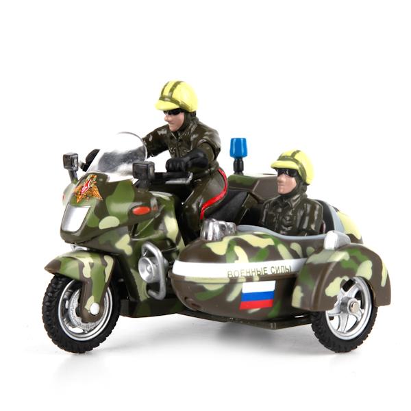 Металлический инерционный мотоцикл с люлькой - Военные силы свет, звукМотоциклы<br>Металлический инерционный мотоцикл с люлькой - Военные силы свет, звук<br>