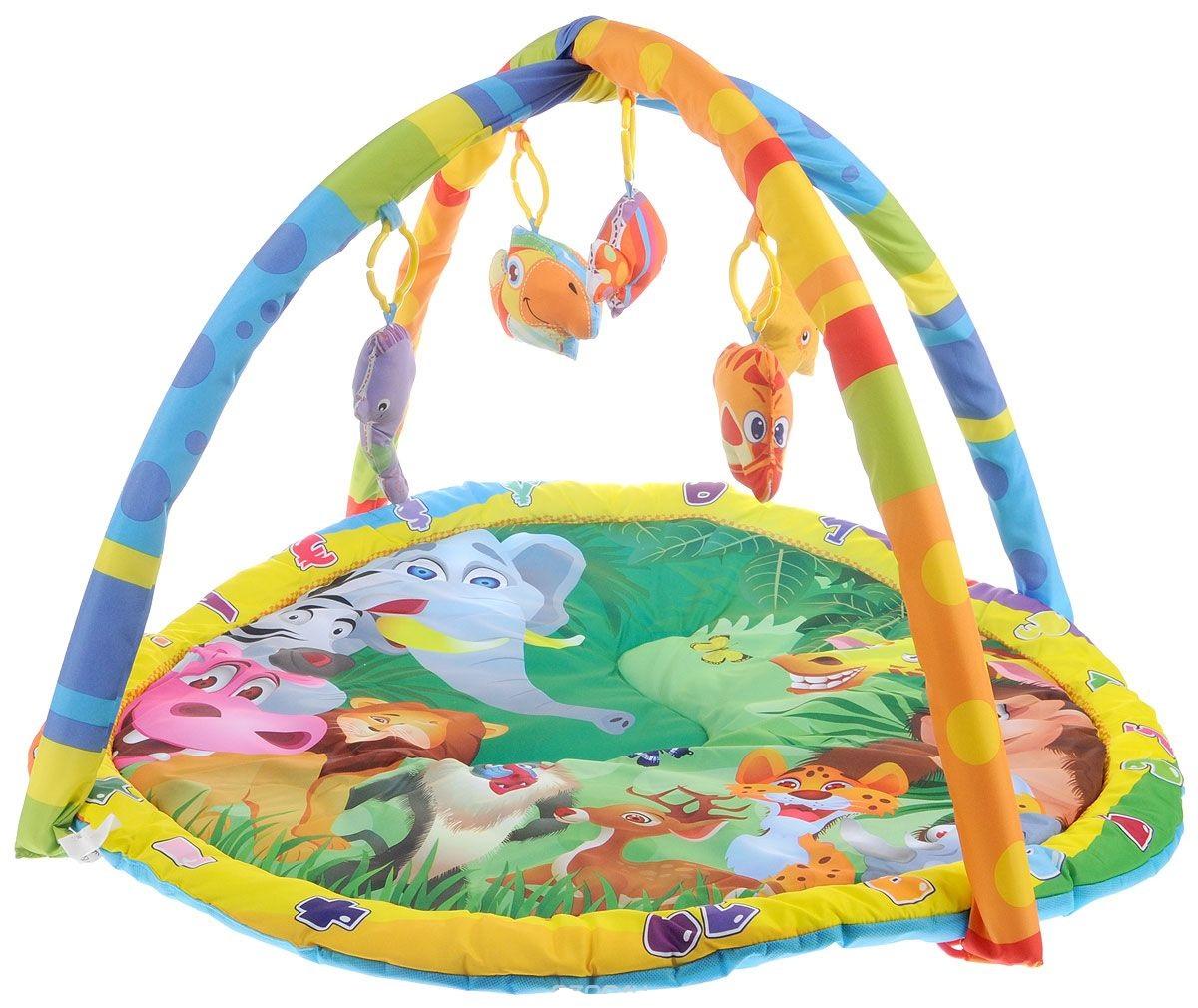 Детский игровой коврик с мягкими игрушками на подвеске и дугами