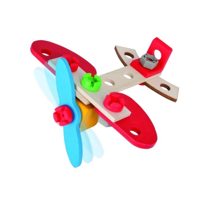 Конструктор деревянный - Самолет, 1 вариант сборки, 18 деталей