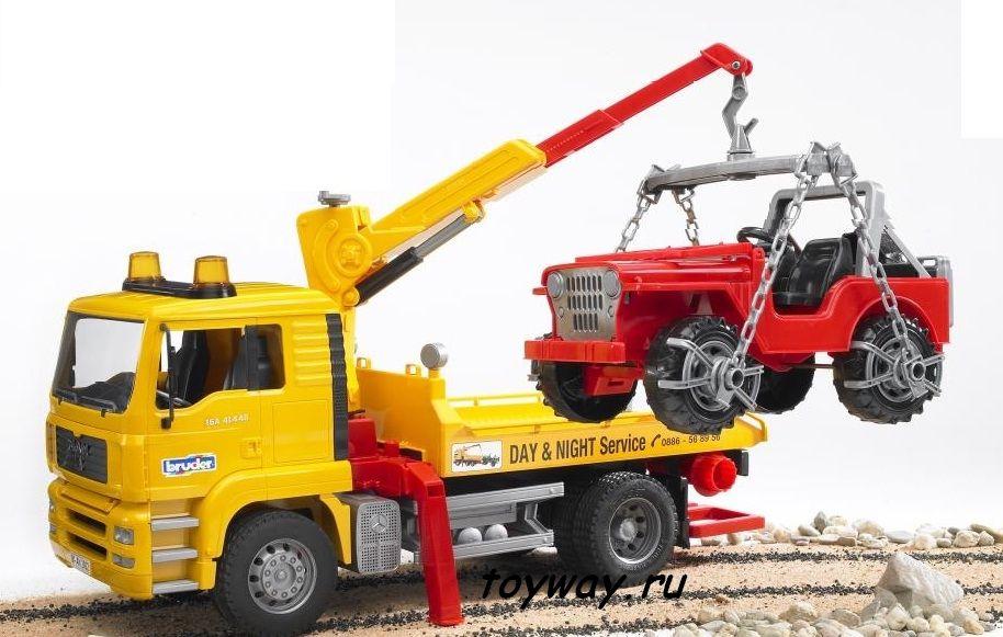 Автокран-эвакуатор Man с джипомБетономешалки, краны, самосвалы Bruder<br>Многофункциональный автокран-погрузчик с джипом на борту.<br>Размеры: 49.5 x 18.5 x 25.5 см.<br>Производитель: Bruder (Германия)<br>