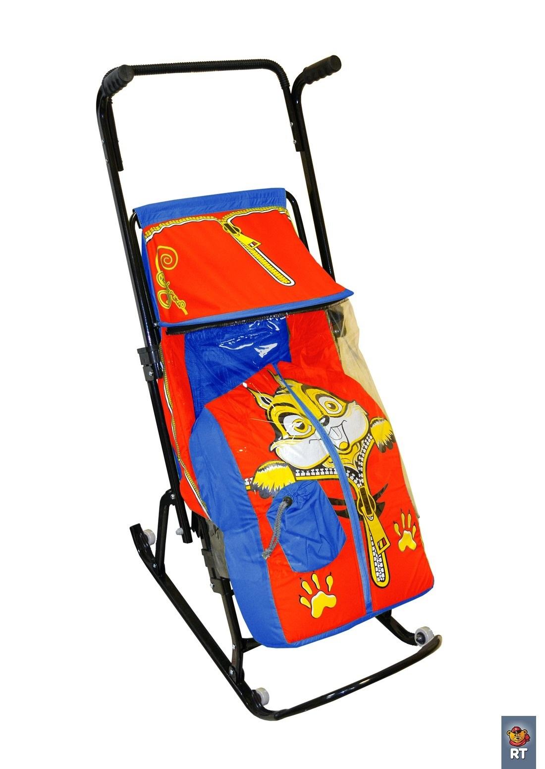 Санки-коляска Снегурочка-4-Р, Бельчонок, с 4 колесиками, синий, красный - Зимние товары, артикул: 173565