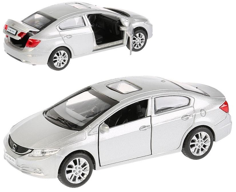 Купить Машина металлическая Honda Civic, серебристая, 12 см, открываются двери, инерционная, Технопарк