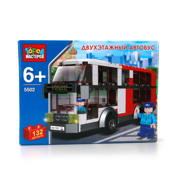 Конструктор – Двухэтажный автобус, 132 деталиГород мастеров<br>Конструктор – Двухэтажный автобус, 132 детали<br>
