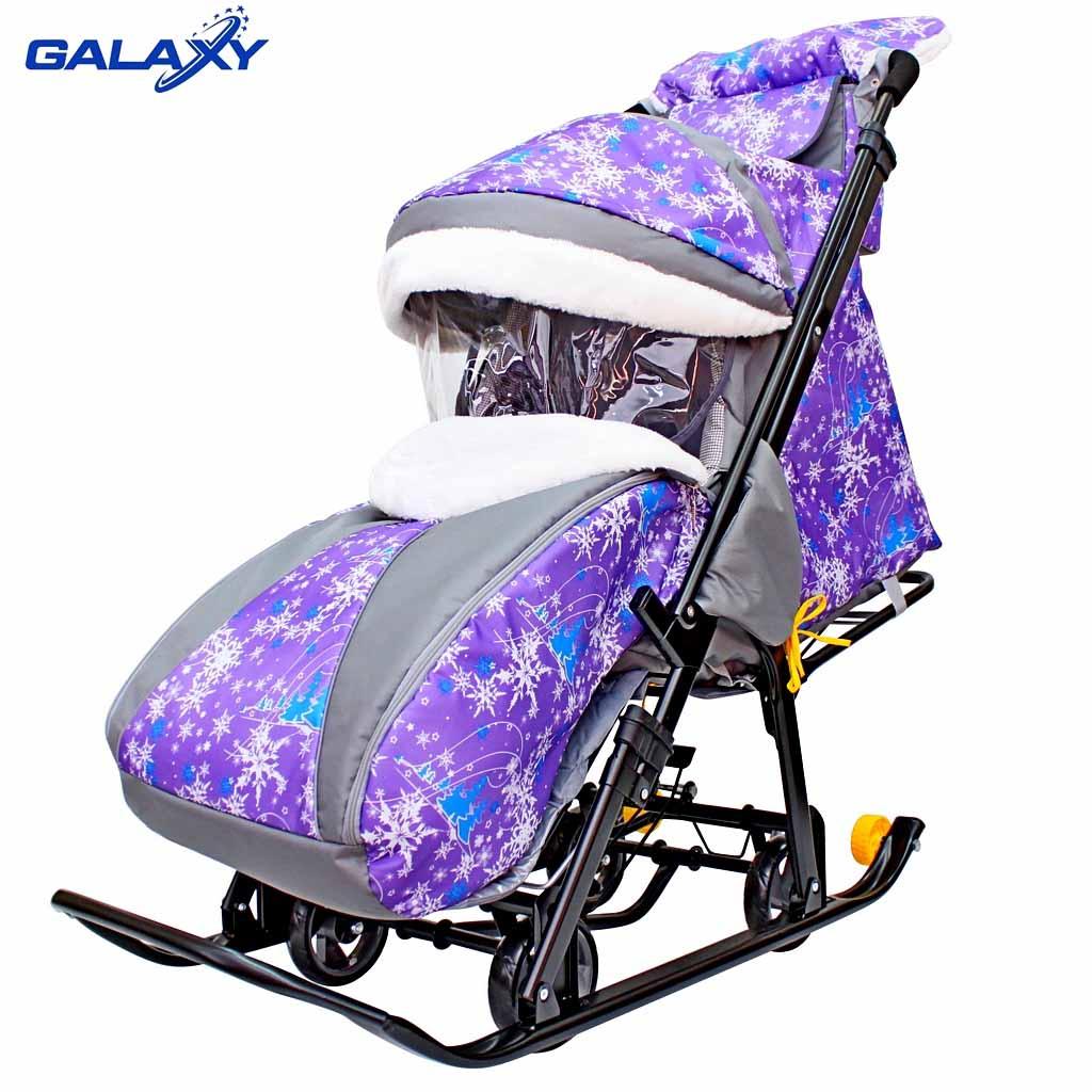 Купить Санки-коляска на больших мягких колесах с сумкой и муфтой - Snow Galaxy Luxe, елки на фиолетовом, R-Toys