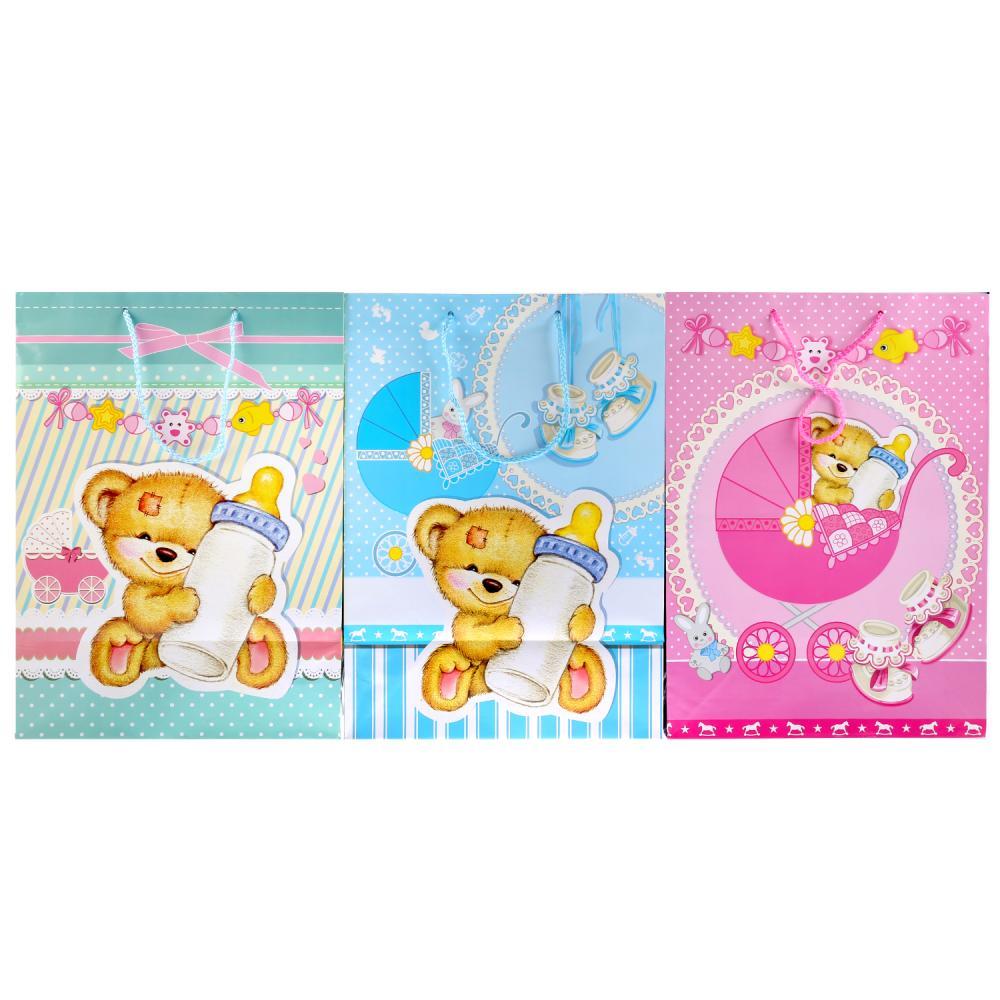 Купить Пакет подарочный для новорожденных, глянцевый, размер 33 х 46 х 20 см. sim), Веселый праздник